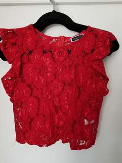 Lace top size small can totally fit a med as well tho