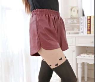 Korean maroon PU Leather Shorts