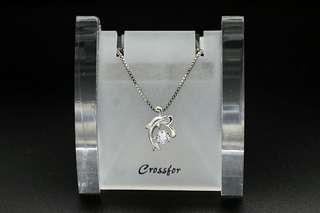 Crossfor New York Dancing Stone Jumping Dolphin NYP-604 Silver Necklace