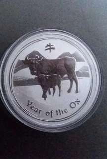 Perth Mint 2009 Lunar Ox 1 oz silver coin