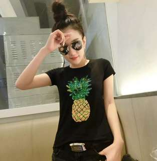 """[PO] Embroidered """"Pineapple"""" Sequin T-Shirt"""