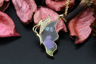 Navia Jewelry Real Butterfly Wing Jewelry Graphium weiskie Alloy Necklace