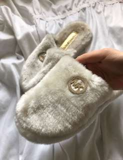 Michael Kors fuzzy slippers (size 8)