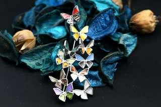 Navia Jewelry Real Butterfly Wing Jewelry Multiple Butterfly Alloy Brooch