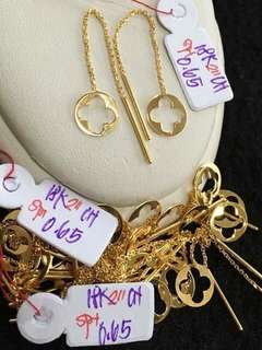 18K CHINESE GOLD TICTAC EARRINGS