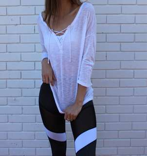 Aerie lace-up shirt