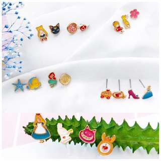 🌟READY STOCKS🌟 Sailor Moon/Cardcaptor Sakura/Alice in Wonderland/Mermaid Ear Studs/Earrings Set (perfect for gift/present)