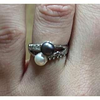 Genuine White Gold, Pearl and Diamond Ring