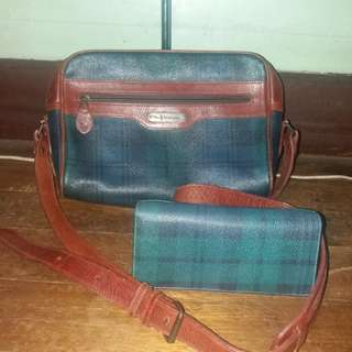 Original Ralph lauren rl leather plaid bag and plaid wallet