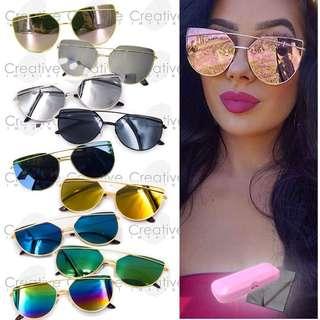 Double Bridge Flat Lens Sunglasses Shades Sunnies-Gray Mirrorized Pink