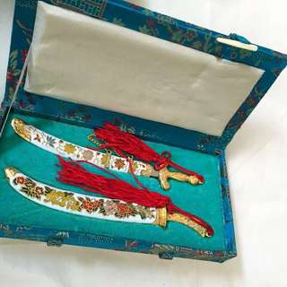 Pair of Cloisonné Sword Collectible