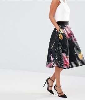 Ted baker orella mesh midi skirt in citrus bloom print (cut label)
