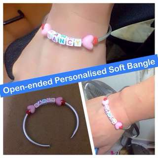 Open-ended Personalised Soft Bangle (malleable & lightweight, being of 3mm round aluminum) [uncle anthony]