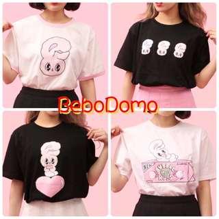 🚚 🎀《BeboDomo 》WEGO Esther loves you 黑白系列 短袖上衣 大頭兔寶寶/三隻兔寶寶/睡美人躺姿/心心相印