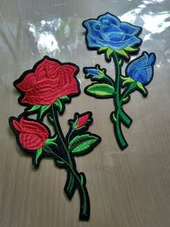 Iron patch rose biru dan merah