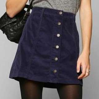 BDG corduroy skirt with front button detail- Burgundy