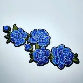 Iron patch rose biru jalar