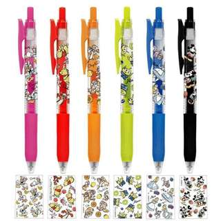 2018/4 zebra japan cute model disney winnie the pooh / donald & daisy / chip n dale / alien / alice / mickey n minnie sarasa 0.5  pen