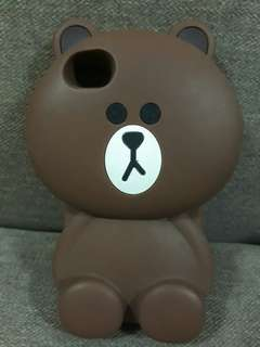 IPHONE 4S BROWN LINE BEAR RUBBER CASE