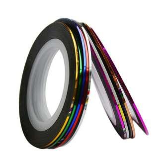 Metallic nail striping tape