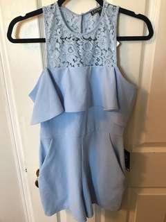 Express Light blue lace romper