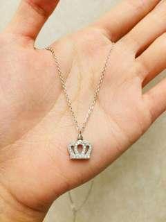 💮母親節禮物 hkd 99💰正生純銀閃亮皇冠👑銀飾頸鏈