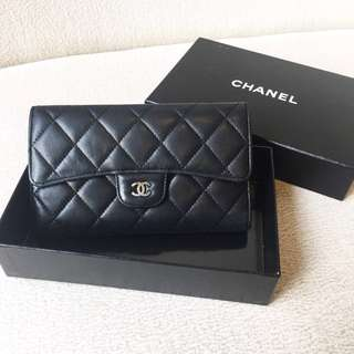 AUTHENTIC CHANEL Trifold Lambskin Wallet / Purse