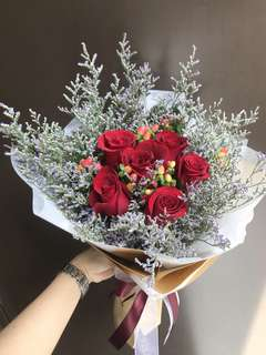 6 red roses Hypericum And Caspia Bouquet