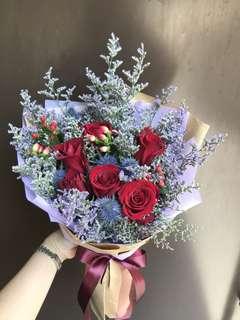 6 red roses eryngium Hypericum And Caspia Bouquet