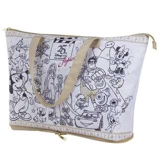 迪士尼disney mickey 米奇老鼠唐老鴨白色 可愛卡通圖案 大容量 可折疊 便攜單肩包購物袋