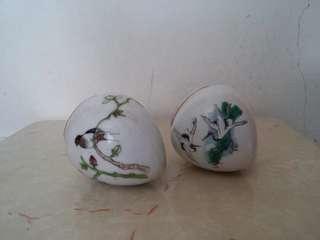 古典花鳥陶瓷畫眉雀杯一對