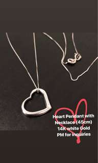 14k whitegold Heart Pendant with Necklace