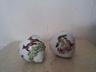 古典壽星公梅花鹿陶瓷畫眉雀杯一對