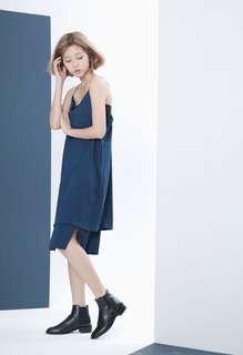 🚚 9成新 韓國soulsis超美下雙層開衩細帶洋裝藍綠色