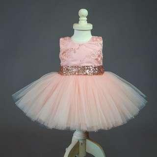Instock - pink sequin dress, baby infant toddler girl children cute glad 123456789 lalalala