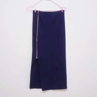 側開衩拉鏈針織窄裙 長裙 #一百元好物