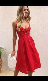 NEW! Ribbon Red Midi Dress