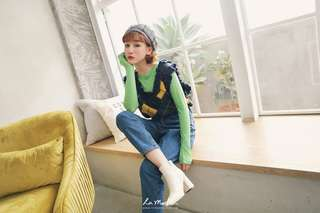 🚚 全新La Mocha~圓領竹節棉薄長袖上衣(綠)