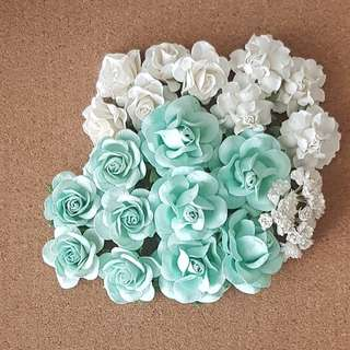 Mulberry Paper Flowers • Mint Greens & Whites (Set of 49)