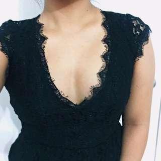 Aritzia Black Lace Dress Babaton