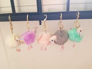 Fluffy unicorn keychain