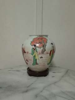 Vintage Japanese Porcelain Pot Height 21cm with enamel painting perfect condition + wood stand