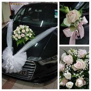 Wedding Car deco - fresh flowers