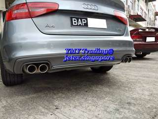 Audi A4 Sline 1.8T B8.5 Upgrades Jetex Quad tip catback system with 2.75 inch piping diameter system with the sline diffuser..#brunei_jetex
