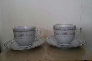 清優淺紫碎花陶瓷茶杯碟一對