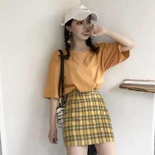 [PO] stripe plaid mustard a line skirt