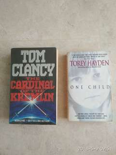Books -  1) The Cardinal of the Kremlin by Tom Clancy 2) One Child by Torey Hayden