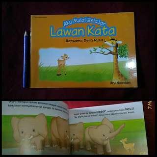 Buku anak aku muali belajar lawan kata bersama dera rusa