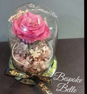 Bespoke Belle~ Real Preserved Rose in Glass dome with Hydrangeas & dried flowers