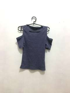 Ribbed Cotton on off the shoulder